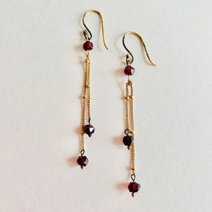Anthropologie ruby red & gold drop earrings